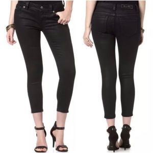 Miss Me Mid Rise Black Coated Crop Skinny Size 34